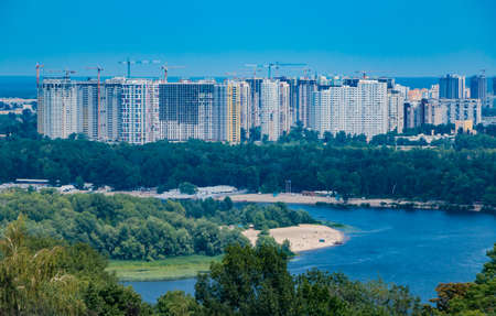 A picture of the apartment housing complexes on the east side of Kiev. 版權商用圖片 - 159073645