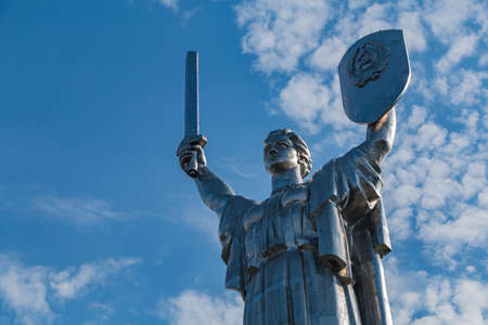A picture of the top of The Motherland Monument, in Kiev. 版權商用圖片 - 159073546