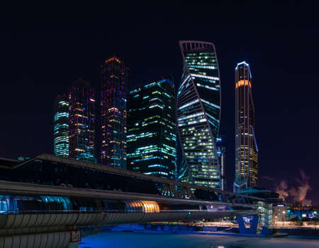 A night picture of the Moscow City buildings. 新聞圖片