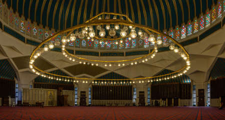 A panorama picture of the main hall of the King Abdullah Mosque in Amman.