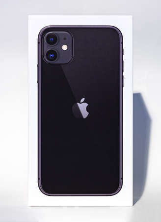 A picture of the Apple iPhone 11 box as seen from the front.