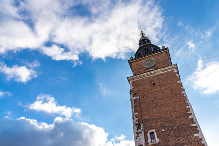 A picture of Kraków's Town Hall Tower as seen from below.