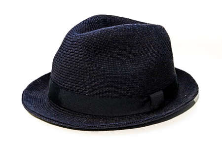 A picture of a black fedora type of hat on a white background.