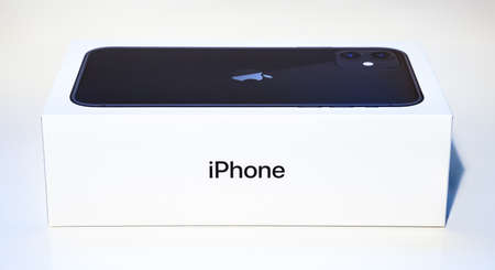 A picture of the Apple iPhone 11 box as seen from the side.