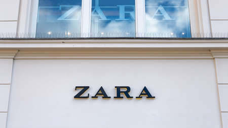 A picture of the Zara logo outside one of the clothing stores.