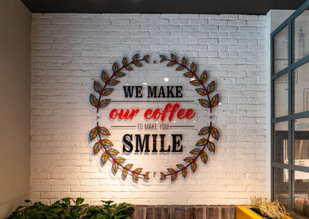 A picture of a nice coffee-related quote inside a coffee shop.