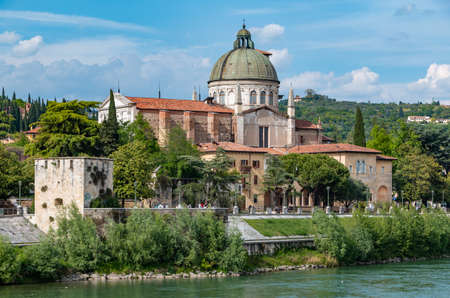 A picture of the San Giorgio in Braida Church as seem from the other side of the Adige river.