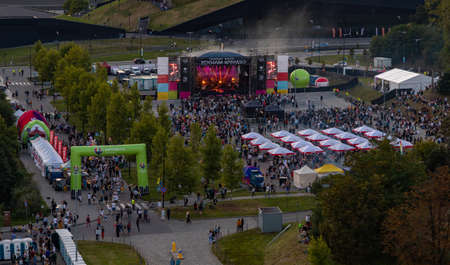 A picture of a concert being held next to the Katowice International Conference Centre.
