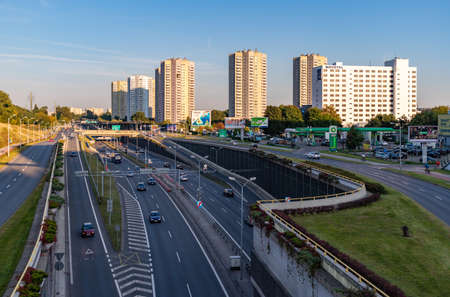 A picture of the Roździeńskiego Avenue and the buildings around it. Editorial