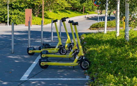 A picture of Katowice's yellow electric scooters from Zipp.