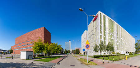 A panorama picture taken on a business hub with many offices, in Katowice.