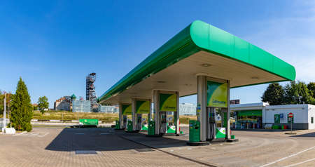 A panorama picture of a BP Gas Station. Editorial