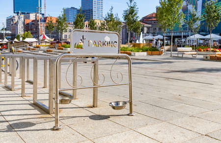 A picture of a dog parking facility in Katowice's main square.