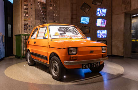 A picture of a Polska Fiat (Poland Fiat) car inside the Silesian Museum, part of the The Light of History - Upper Silesia Over the Ages permanent exhibition. Editorial