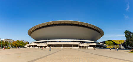 A picture of the Spodek venue, in Katowice.