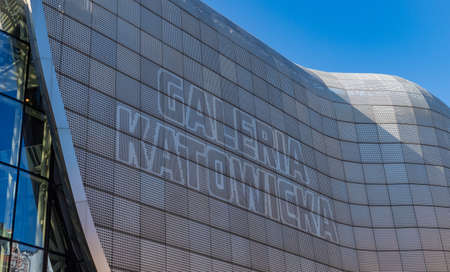 A picture of a large on the facade of the Galeria Katowicka shopping mall.