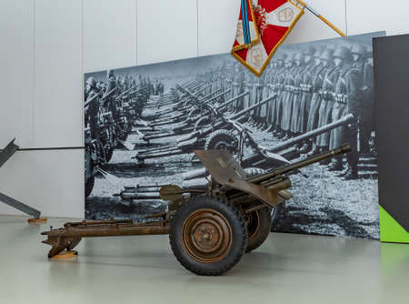 A picture of a Polish wheeled machine gun used in the Wold War 2.