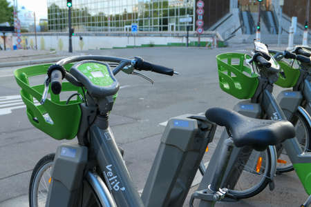 Paris, France. October 04. 2020. Vélib rental station. Row Electric-assisted bicycle, ecological alternative against pollution. Urban transport.