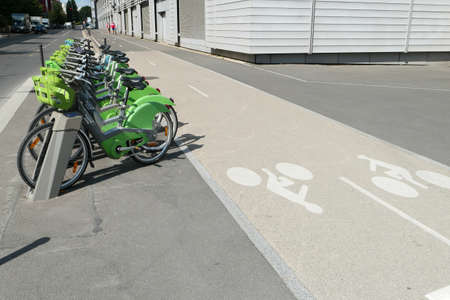 Paris, France. July 11. 2020. Vélib rental station. Row Electric-assisted bicycle, ecological alternative against pollution. Urban transport.