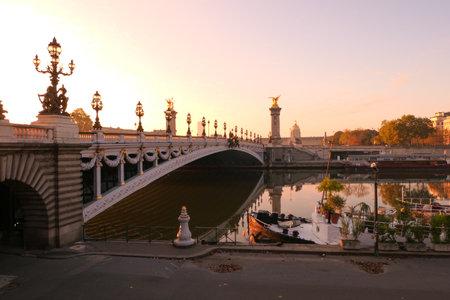 Paris, France. October 18. 2020. Historical monument. Bridge Alexandre 3 at sunrise. Located in the tourist district of Les Invalides.
