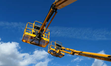 Ris orangis, France. September 26. 2020. Machine construction. Aerial platform for workers who work at height on buildings
