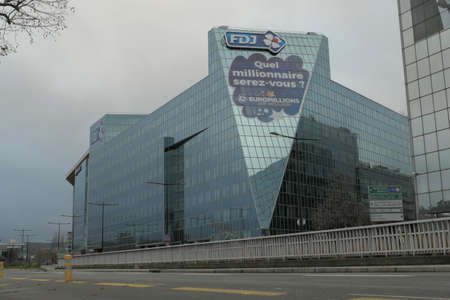 Paris, France. December 20. 2020. Modern building of the offices of the fdj.