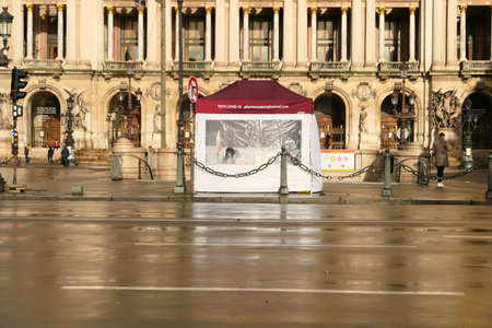 Paris, France. January 17. 2021. Tent housing a screening and testing center for covid 19, coronavirus. Located in the Garnier Opera District.
