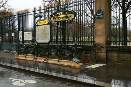 Paris, France. January 17. 2021. View of the entrance to a Parisian metro station. Public transport.