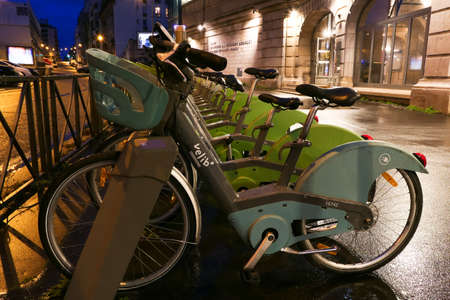 Paris, France. January 17. 2021. Velib 'rental station. Row Electric-assisted bicycle, ecological alternative against pollution. Urban transport.