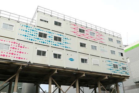 Paris, France. January 24. 2021. Prefabricated modular offices. Stacking of boxes for construction site.