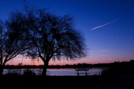 Beautiful sunset or sunrise with view on a lake. Rural scene with silhouette of weeping willow in the foreground. Isolated bench in front of the water. 版權商用圖片