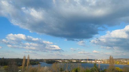 Beautiful clouds. Big cumulonimbus in a blue sky.