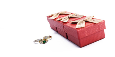 Ring and Boxes isolated on white  photo