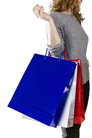 splurge: Woman with shopping bags and white background