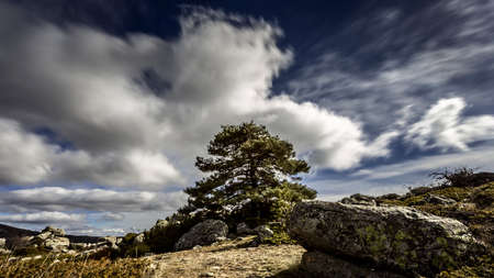 in high mountain: High mountain landscape in a cloudy day Stock Photo