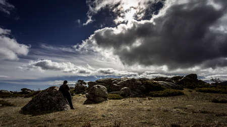 High mountain landscape in a cloudy day Stock Photo