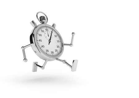 Stopwatch with arms and legs that runs on white background  photo