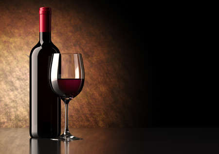 Bottle of red wine with dark glass on bottom and top reflective  photo