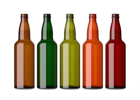 Empty beer bottles without caps, on a white background Stock Photo - 12587336