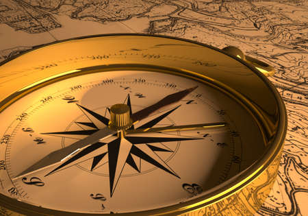 Compass on map  3D rendering  photo
