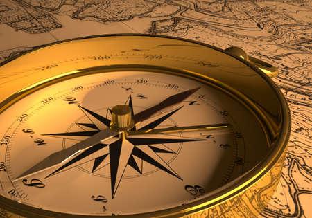 Kompas op kaart 3D-rendering