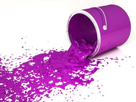 Magenta paint bucket upside down on a white background  photo