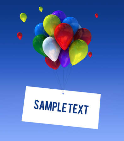 happy feast: Balloons in the sky in 3D graphics sign writable  Stock Photo