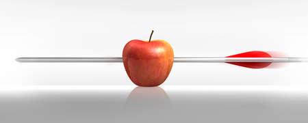 화살표로 강타 빨간 사과, 흰색 배경 스톡 콘텐츠