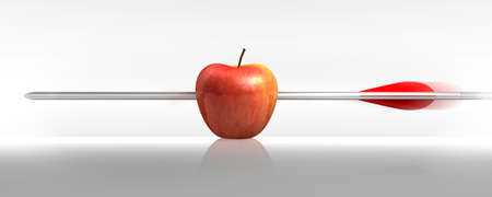 organic concept: red apple struck by an arrow, the white background Stock Photo