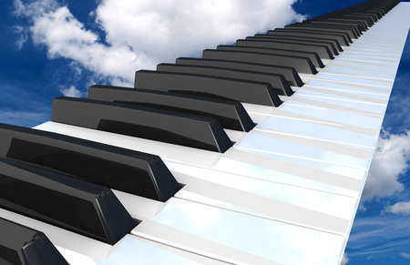 antique sleigh: piano keyboard flying in the sky  Stock Photo