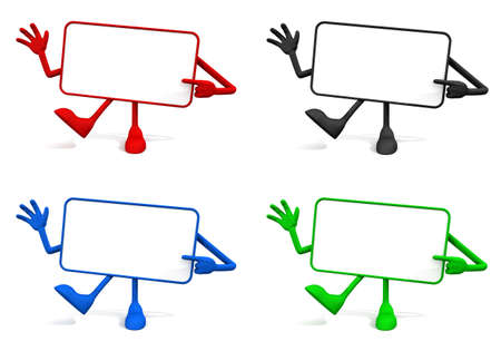 writable: collection of four animated and colorful signs writable