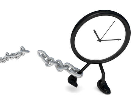 breaks: clock that breaks the chain of time Stock Photo
