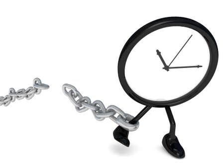 cadena rota: reloj que rompe la cadena del tiempo