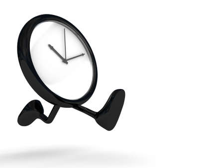 instrument of time: clock running, legs and feet  Stock Photo